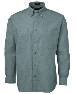 L/S Cotton Chambray Shirt Green Stitch