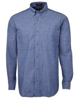 L/S Cotton Chambray Shirt Blue Stitch