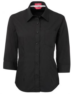 Ladies Contrast Placket 3/4 Shirt