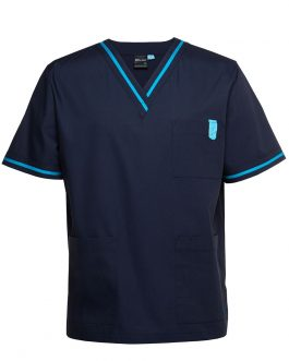 Contrast Scrubs Top