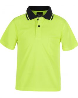 Kids Hi Vis Non Cuff Traditional Polo
