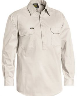 Closed Front Cotton Light Weight Drill Shirt – Long Sleeve