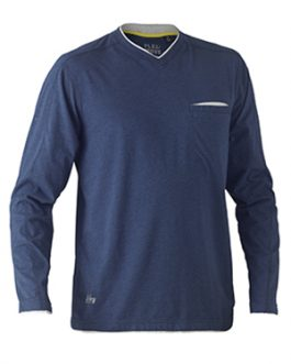 Flex & Move™ Cotton Rich V Neck Long sleeve tee