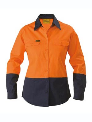 Womens 2 Tone Hi Vis Drill Shirt - long sleeve