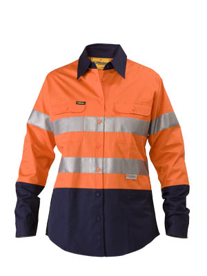 Womens 3m Taped Two Tone Hi Vis Cool Lightweight shirt - long sleeve