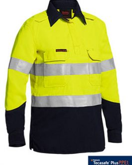 Womens Tencate Tecasafe® Plus Taped Two Tone Hi Vis fr Closed Front Shirt with concealed front placket- long sleeve