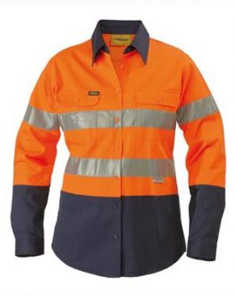 2 Tone Womens Hi Vis Drill Shirt 3m Reflective tape – long sleeve