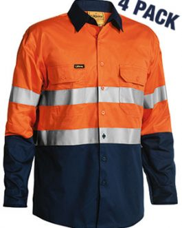 3m Taped Two Tone Hi Vis Cool Lightweight Mens shirt 4 pack – long sleeve