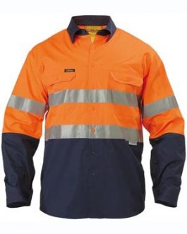 Long Sleeve 2 Tone Hi Vis Cool Lightweight Gusset Cuff shirt 3m reflective tape – embroidery pack