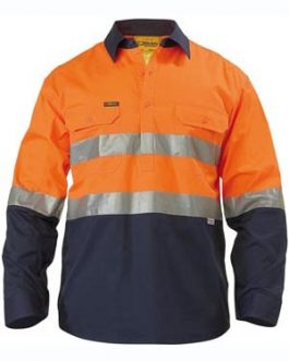 2 Tone Hi Vis Cool Lightweight Closed Front Shirt 3m reflective tape – long sleeve
