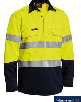 Tencate Tecasafe® Plus Taped Two Tone Hi Vis Closed Front vented shirt - long sleeve