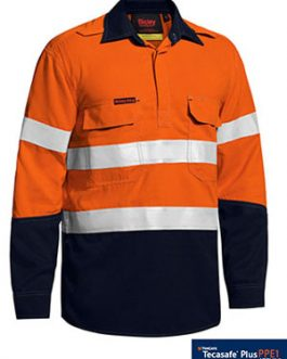 Tencate Tecasafe® Plus Taped Two Tone Hi Vis Closed Front vented shirt – long sleeve